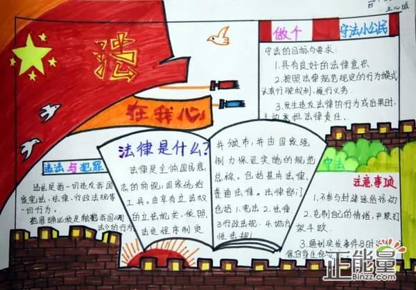 宪法伴我成长主题书画手抄报精美图片大全图片