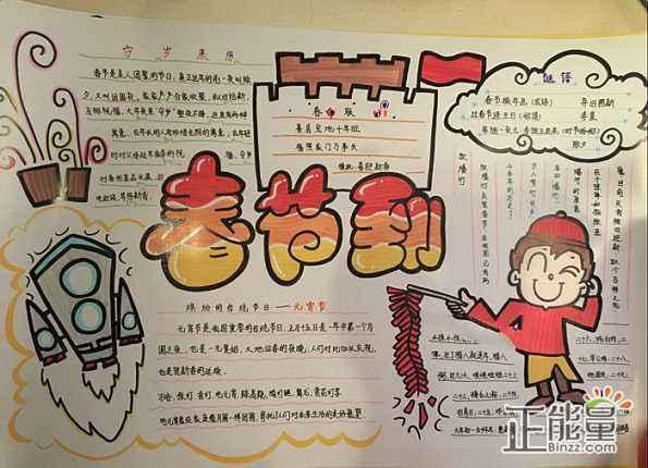 2019猪年春节手抄报精美图片大全图片
