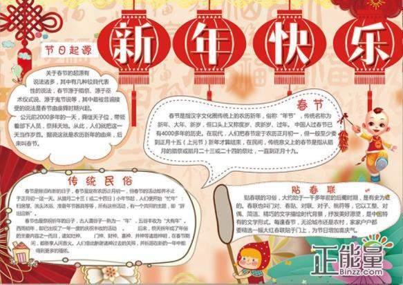 2019猪年春节手抄报精美图片大全