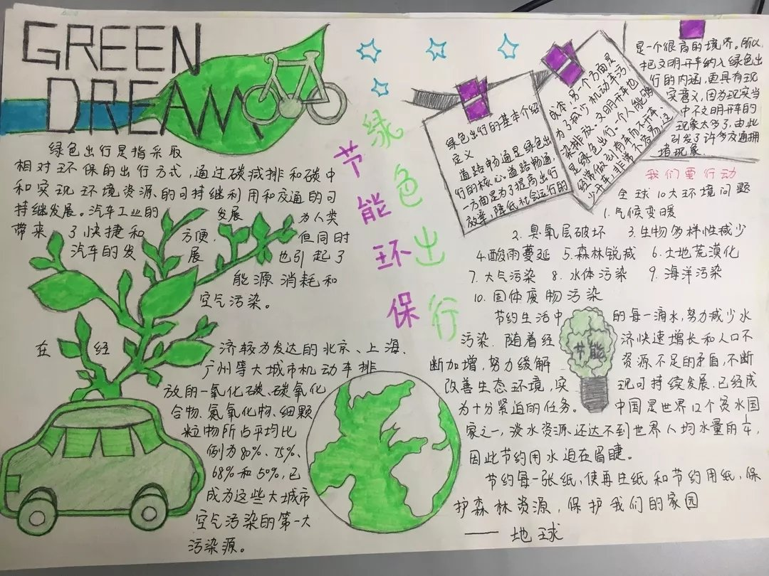 关于绿色出行主题手抄报漂亮又简单图片大全