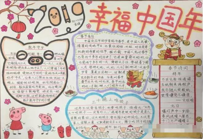 青春寻味中国年主题手抄报精选图片大全