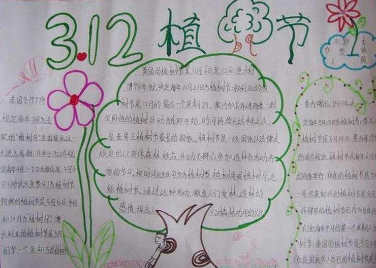 3.12植树节手抄报简单又漂亮字少图片大全
